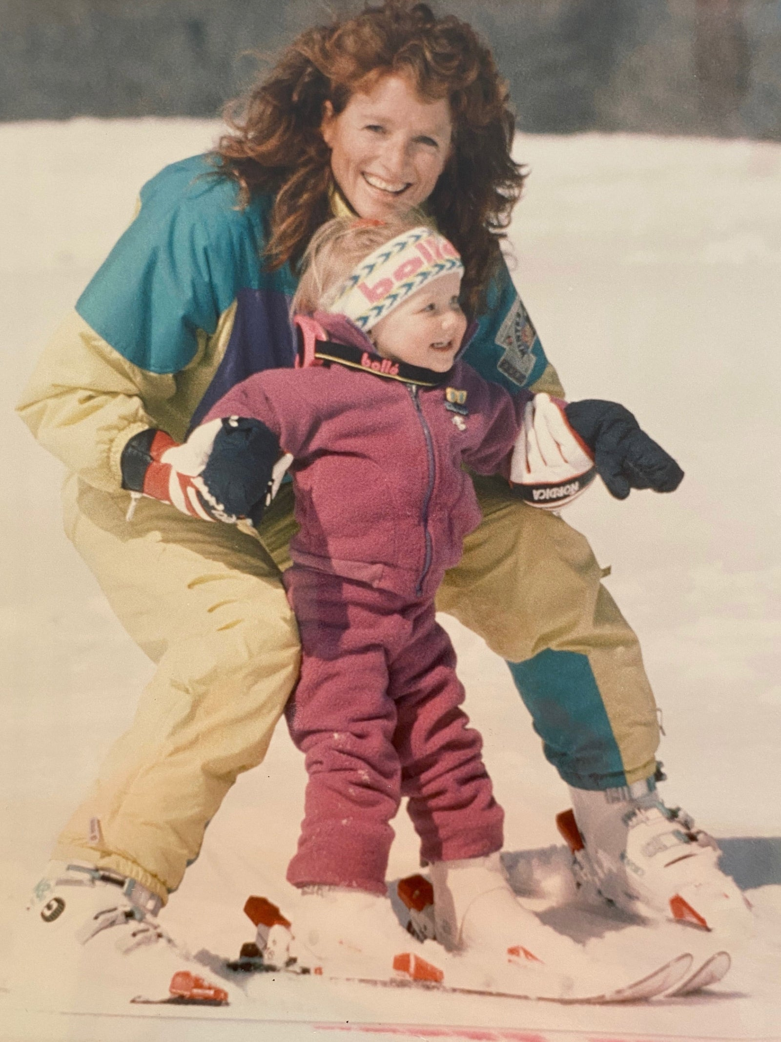 Straight from the Natasha Woodworth Archive Collection: a shoebox. Tasha's mom, Viki Fleckenstein Woodworth (pictured), sent this photo of her and a young Tasha skiing in Vermont. Photo: Dad, aka Richie Woodworth.