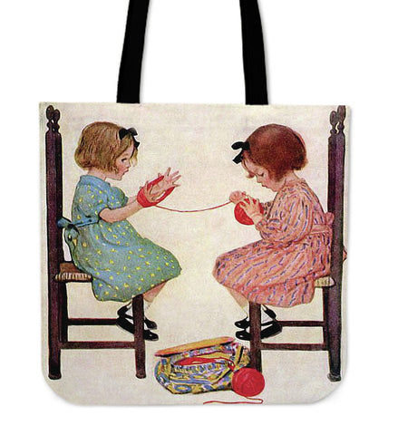 Girls at Knitting Store - Tote Bags KL30