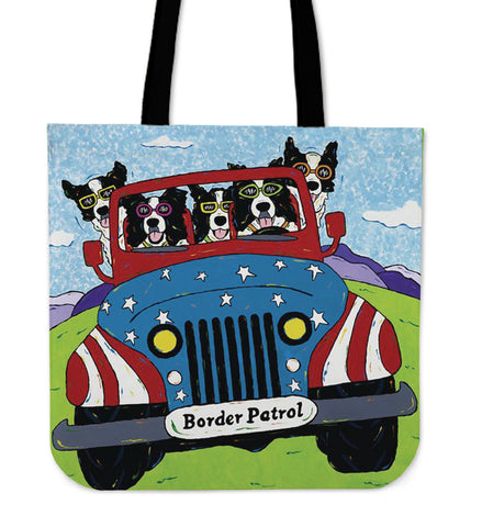 BORDER COLLIE ON CAR Tote Bag N95