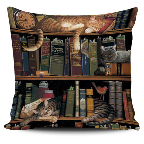 Cats in library Pillowcase