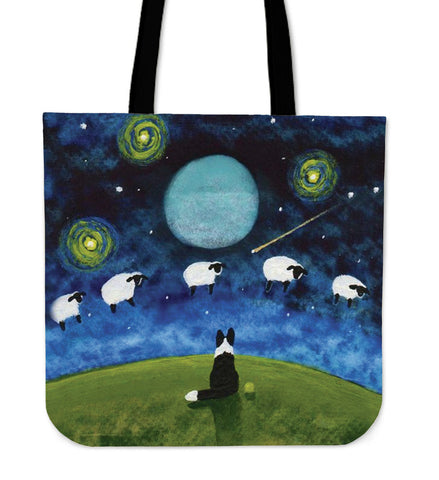 Border Collie On Moon Tote Bag N95