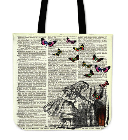 Alice In The Wonderland On A Vintage Dictionary Book Page Tote Bag