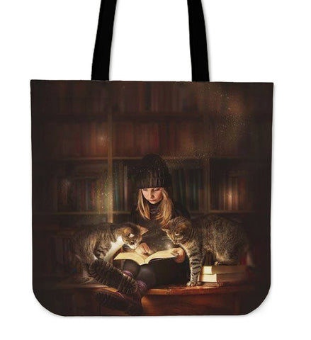1 Reading Girl & 2 Cats Tote Bag