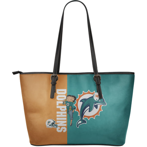 Miami Dolphins - Large Leather Tote Bag