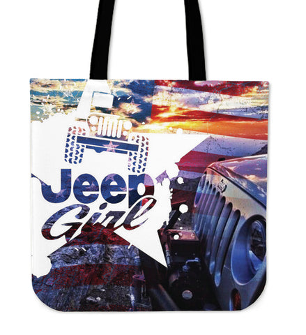 Jeep Girl Flag Tote Bag