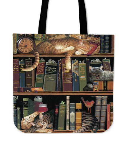 Cats in Library Tote Bag