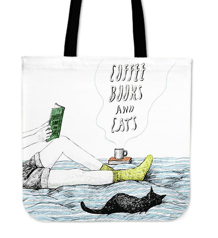 Coffee Books And Cats Tote Bag