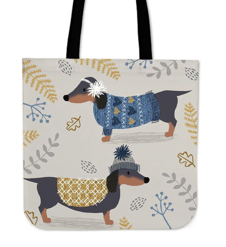 Dachshunds Winter - Tote Bag