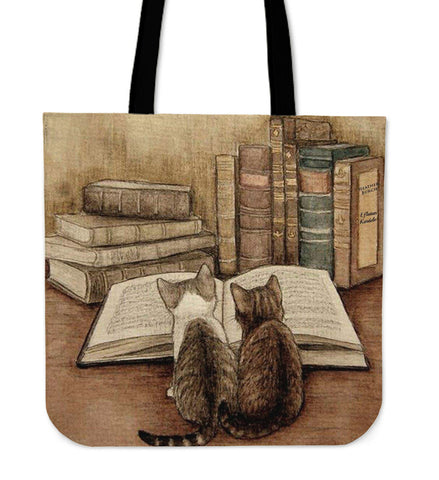 2 CATS READING TOTE BAG