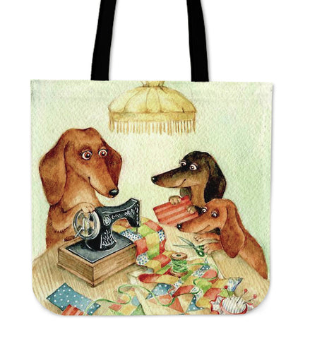 SEWING DACHSHUND TOTE BAG