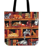 Cats on Bookshelves - Tote Bags
