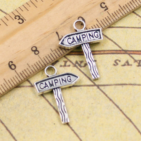 10pcs Charms signpost camping 22*18mm Tibetan Silver Plated Pendants