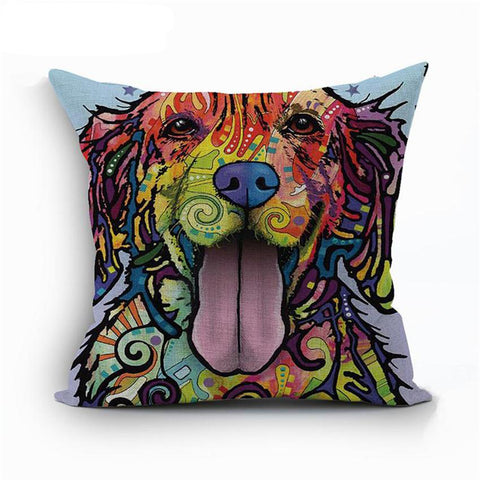 Golden Retriever Pop Art Styled Linen Pillowcase