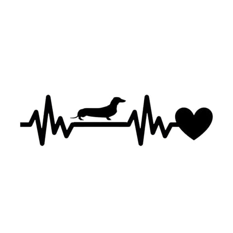 2 Piece Set 19*5CM Dachshund Heartbeat Lifeline Vinyl Car Sticker