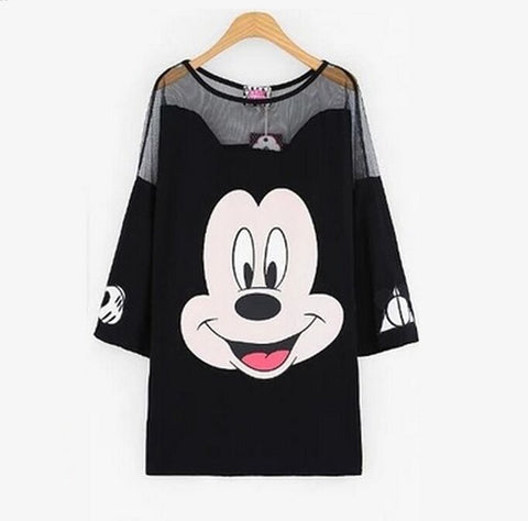 New fashion Mickey mouse net mixed long sexy Tee N94