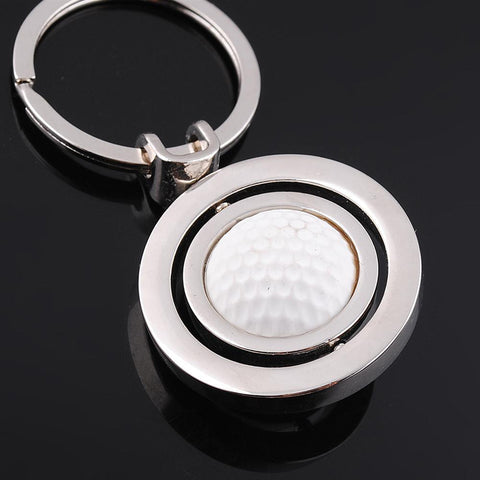 3D Cute Rotary Rubber Golf Ball Alloy Metal Keychain