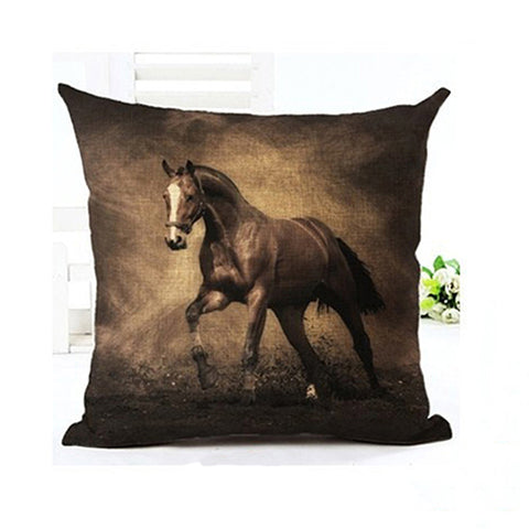 3D Horse Printed Linen Pillow Case