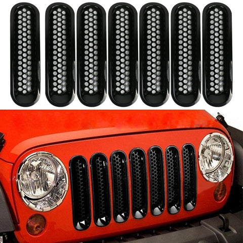 For 07-16 Jeep JK Wrangler Car Front Mesh Grille Cover