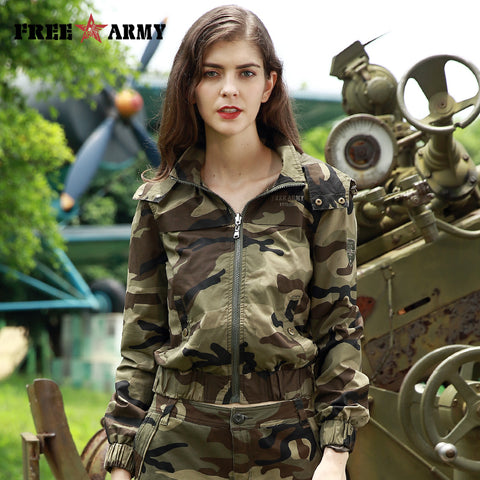 Army Women's Fashion Jacket Camouflage Zipper Outerwear