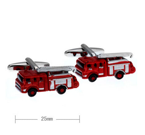 1 Pair Red Novelty Fire Engine Cuff Links L6