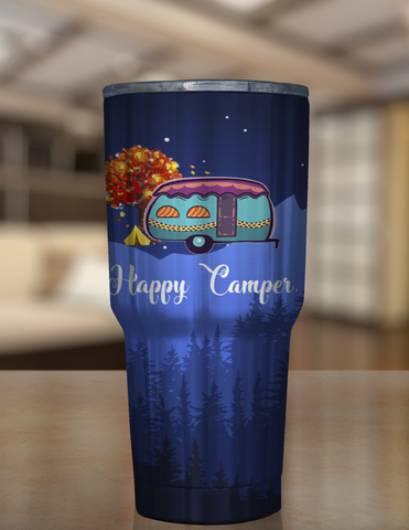 Happy Camper Blue Tumbler 30oz