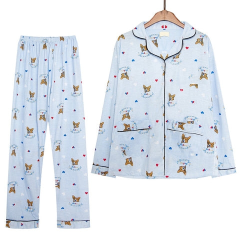 CUTE CORGI PRINTED PAJAMA SET