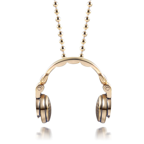Stainless Steel Music Headphones Pendant