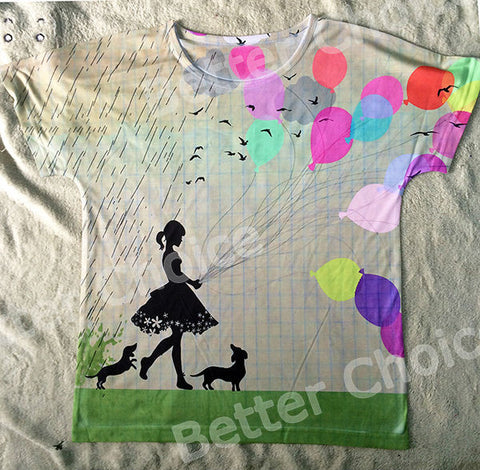 Little Flower Girl with Dachshund Dog Colorful Balloon Rain T Shirt