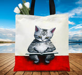 A Kitten Read Book Tote Bag