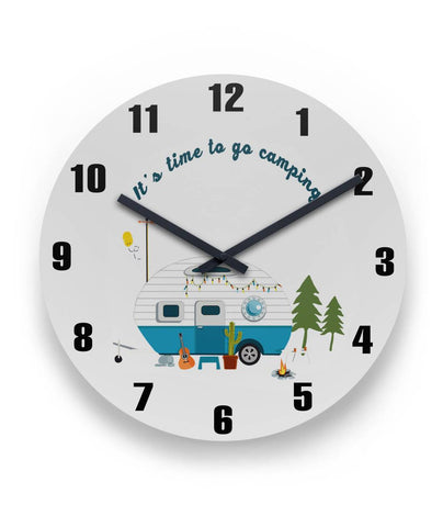 It's time to go camping Camper Round Wall Clock