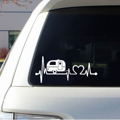 2 Piece Set - Camper Heartbeat Car Stickers and Decals 20.3cm*8.9cm