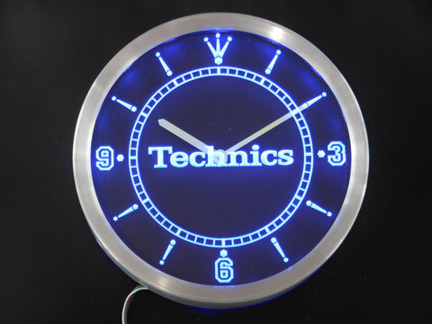 Technics Turntables DJ Music Neon Sign LED Wall Clock