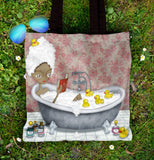 Bathing and Reading - Tote Bag