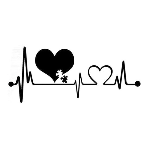 2 Pieces 16.6cm*7.2cm Autism Heartbeat Lifeline Creative Car Sticker