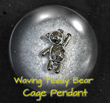 SO Pendant - Pearl Cage - Waving Teddy Bear