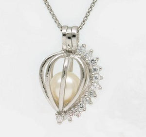 SO Pendant - Pearl Cage - Heart Shaped Shining Gems