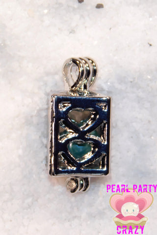 SO Pendant - Pearl Cage - Small Square With Circles