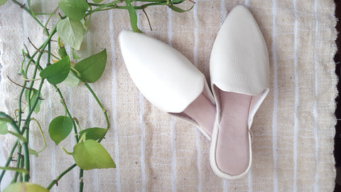 Leather baboush slippers | Ivory