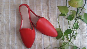 Leather baboush slippers | Red