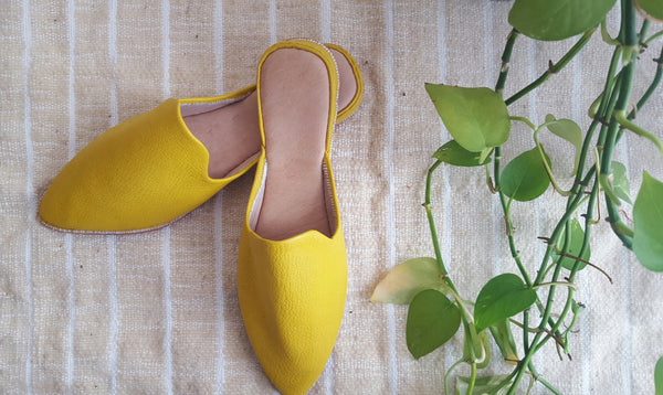 Leather baboush slippers | Yellow