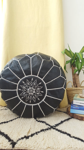 Moroccan embroidered ottoman pouffe | Black