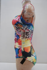 Vintage 1980's Tribal Tie Dye Swimming Costume Size 12