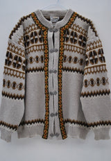 Vintage Norwegian Silver Buckle Wool Cardigan Jumper Size L