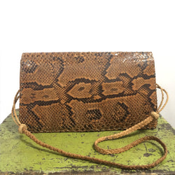 Vintage Snakeskin Leather Clutch Handbag