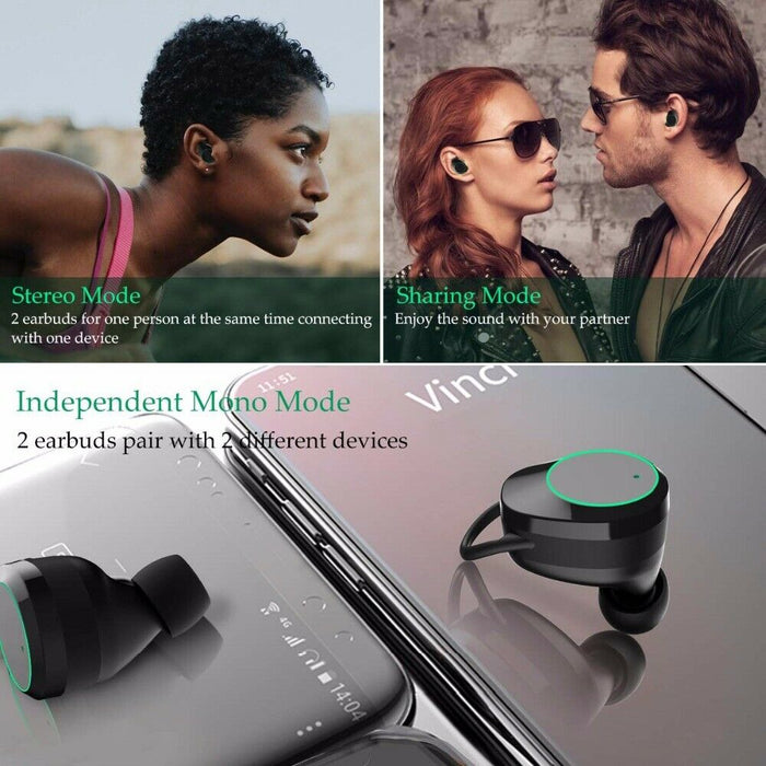 Bluetooth 5.0 Headset TWS Wireless Earphones Mini Earbuds Stereo Headphones IPX6