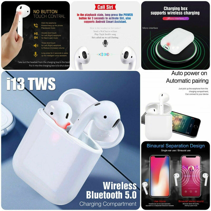 Bluetooth 5.0 Earphone TOUCH CONTROL Headset Earbud WIRELESS CHARGING - i13 TWS