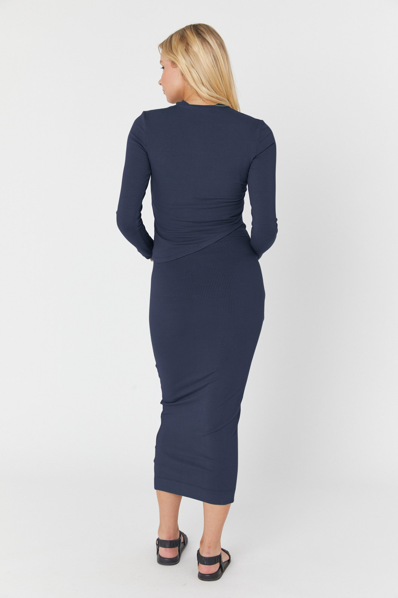 Elke Rib Dress (Navy)