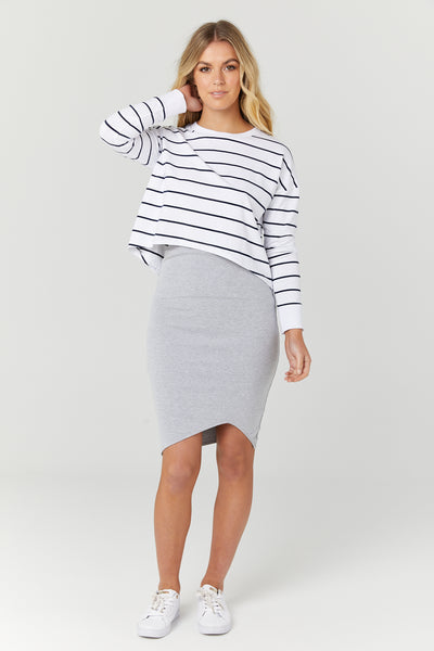 Bellevue Skirt (Grey Marle) - LEGOE.