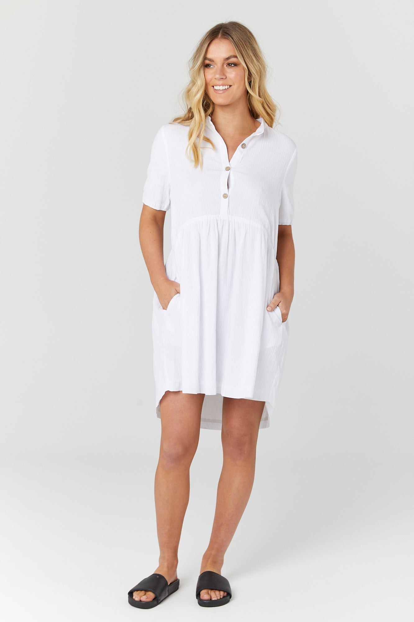 Santorini Dress (White) - LEGOE.