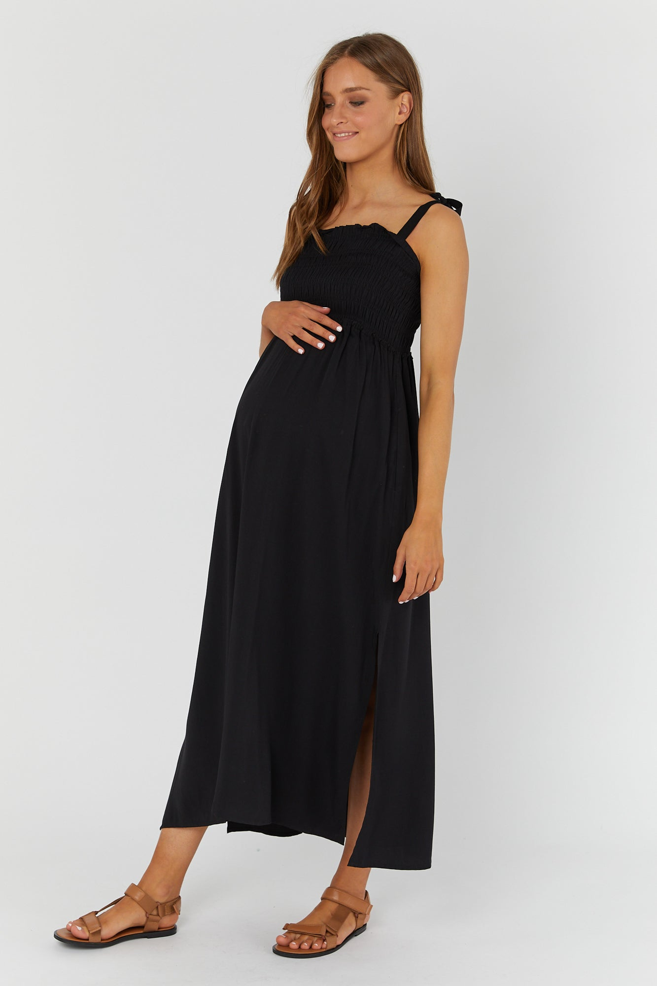 Hvar Shirred Maxi Dress (Black)